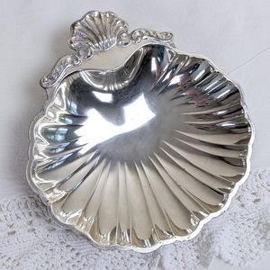 Vintage Silverplated Footed Clam Shell Dish, Japan